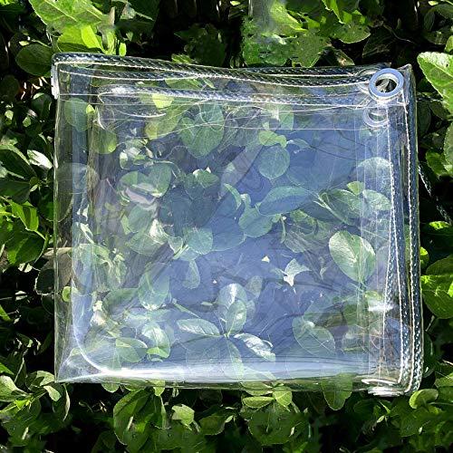 Lona Transparente Impermeable 2 x 3m,Toldos y Lonas Resistentes 0,3mm,Paño Grueso de Plástico PVC Resistente A La Intemperie,Cubiertas Invernadero A Prueba de Lluvia,con Ojales (2.4x6m/7.9x20ft)