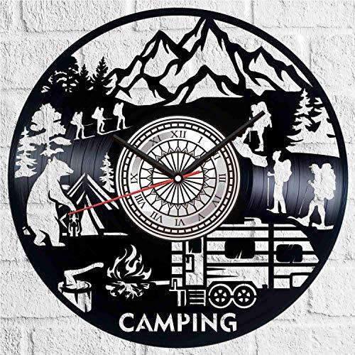 Camping verano campamento vinilo disco reloj de pared estilo retro reloj de pared silencioso decoración del hogar único arte especial accesorios creativos personalidad regalo