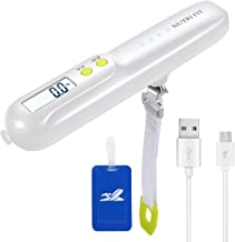 Rechargeable Hanging Luggage Scale, 2600mAH Portable Power Bank & Rubber Paint,110lbs Baggage Scale with Backlit LCD Display,Portable Travel Luggage Weight Scale with Straps for Travelers,White