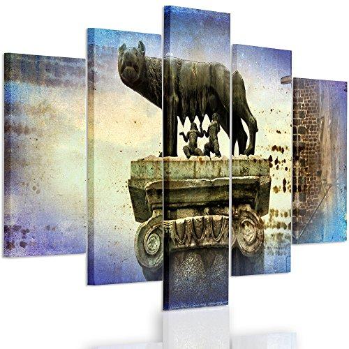 Feeby Frames, Quadro multipannello di 5 Pannelli, Quadro su Tela, Stampa Artistica, Canvas Tipo A, 70x100 cm, Roma,LUPA, Remus,Scultura, MONUMENTO, Blu, Giallo