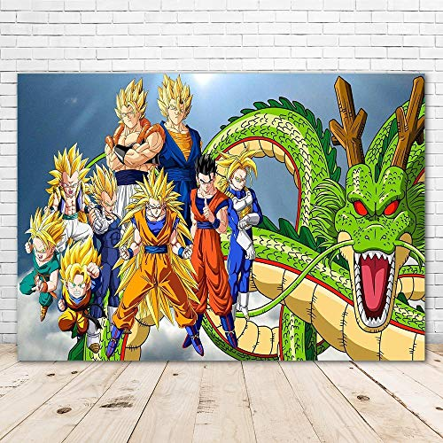 Photography Background Vinyl 7x5ft Dragon Ball Z Happy Birthday Backdrop Personalized Name Baby Shower Photo Backgrounds Party 2nd Birthday Backdrops for Boys
