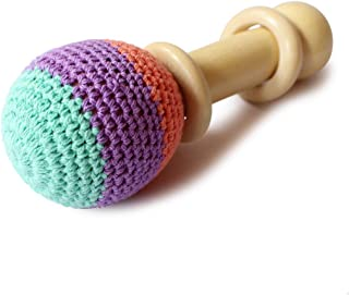 Shumee Organic Wooden Crochet Shaker Baby Rattle - Non Toxic & Eco-Friendly Handcrafted Montessori Clutching Toy (0 - 1 Year)