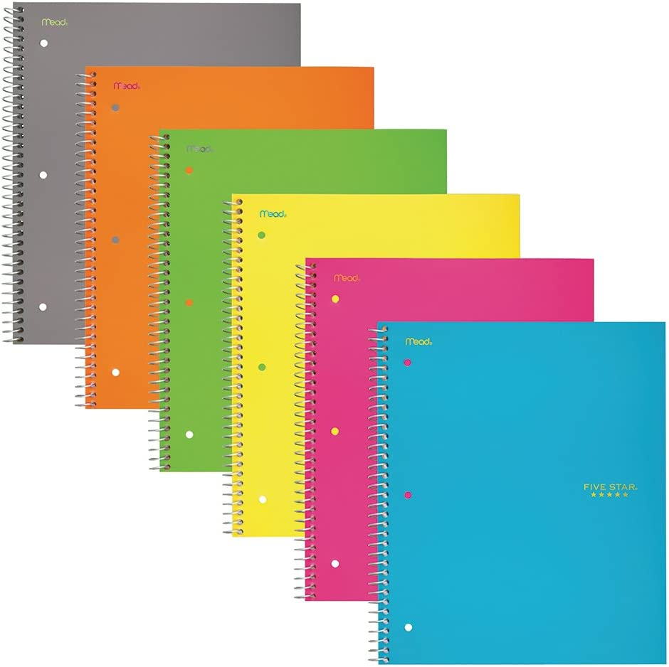 Five Star Spiral Notebooks 3 Subject Wide She online shop Cheap mail order sales 150 Paper Ruled