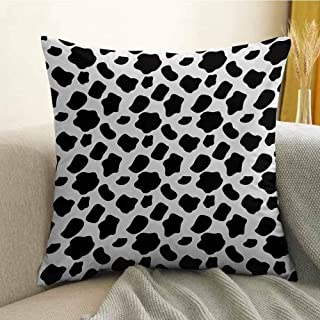 Antony Petty Cow Print Printed Custom Pillowcase Cattle Skin Pattern with Scattered Spots Animal Hide Plain and Pasture Print Decorative Sofa Hug Pillowcase W24 x L24 Inch White Black