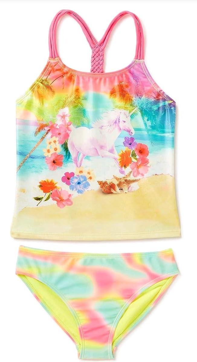 Girls Unicorn Print Tankini Swimsuit