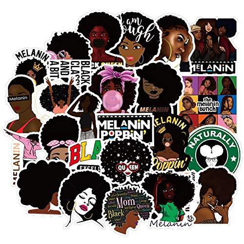 TTBH 50 Piezas inspiradora Chica Negra Chica Negra Pegatina Poppin Negra DIY portátil teléfono Guitarra Maleta Equipaje monopatín Pegatina F5