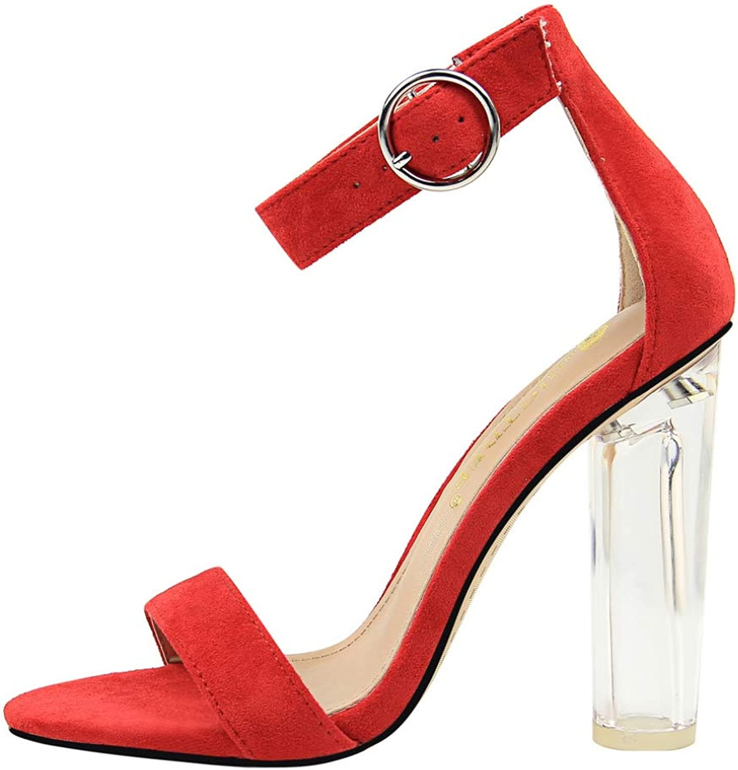 T-JULY Sandal for Women Open Toe with Buckle Strap Transparent Thick High Heels Summer Heels Ladies Sexy Party Elegant shoes