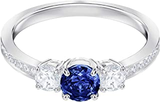 Swarovski Attract Trilogy Ring Blue Rhodium Plated Size 8