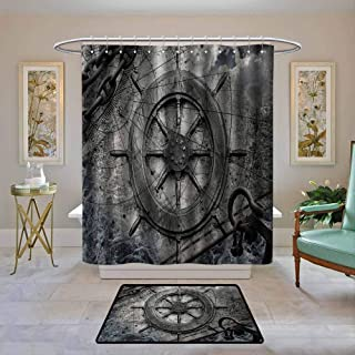 """Waterproof Fabric Shower Curtain Ships Wheel,Retro Navigation Equipment Illustration with Steering Wheel Charts Anchor Chains,Charcoal,Machine Washable - Shower Hooks are Included 72""""x78"""""""