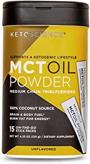 Keto Science Mct Oil Powder, from Pure Coconut, Medium Chain Triglycerides, Burn Fat for Energy, Boost Brain Power, Conven...