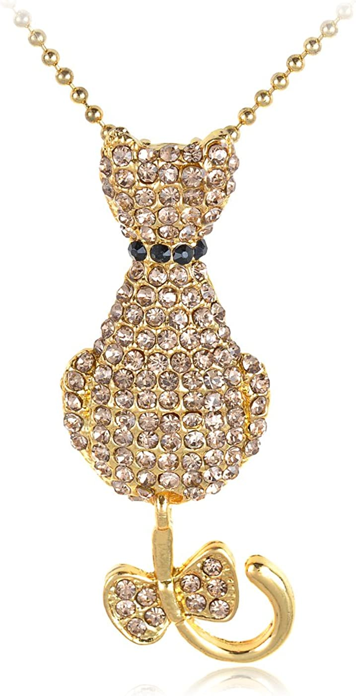 Alilang Golden Coloured Kitty Meow Purr Cat Bowtie Swarovski Crystal Element Necklace