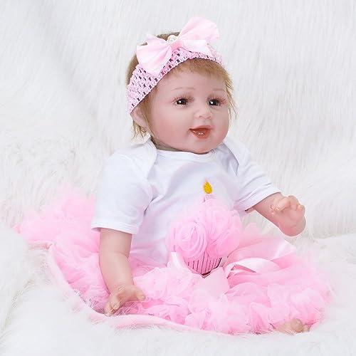 LIJUN Neugeboren Baby Puppe Weißh Silikon Vinyl 22inch Magnetisch Mund Naturgetreue Spielzeug,55cm