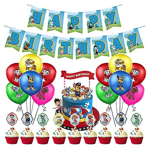 Decoración Cumpleaños Patrulla Canina Globos Patrulla Canina Pancarta Cumpleaños Patrulla Canina Balloons Patrulla Canina Adornos de Pastel Patrulla Canina