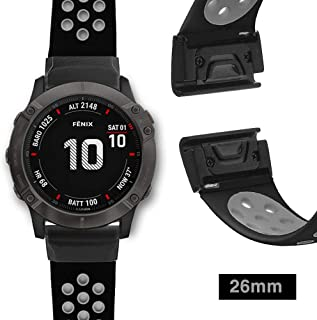 YOOSIDE Watch Band for Garmin Fenix 6X/Fenix 5X, 26mm QuickFit Silicone Sport Waterproof Wrist Band for Garmin Fenix 6X Pro/Sapphire,Fenix 3/Fenix 3 hr, Fenix 5X/5X Plus,Tactix Bravo (Black Grey)
