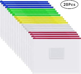 Cooldool 20 Pcs Plastic Poly Zip Envelope File Folder Bags,Letter Size,5 Color