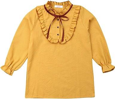 Blusa de Manga Larga para niñas con Volantes y Lazo, con ...