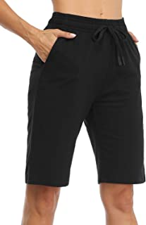 "Safort Women's 10"" 5"" Active Bermuda Shorts 100% Cotton 3 Pockets Pajama Lounge Essential Long Shorts Causual"