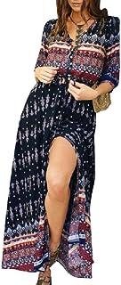 (ライズオンフリーク)RISEONFLEEK レディース ワンピース ガウン エスニック 柄 マキシ 丈 半袖 FO-03