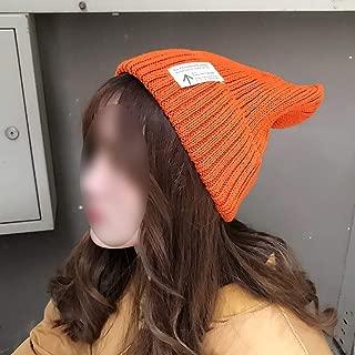 JCCOZ Women's Autumn and Winter Wool Warm Hat, Wild Windproof Dustproof Solid Color Hat, Foldable Hat (Color : Orange)
