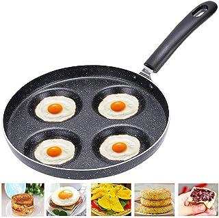 BESTZY Sartén 4 moldes de Huevo Frito Huevos fritos moldes Anillos aptas, sartén Antiadherente de aleación de Aluminio multifunción sartén Huevo tortita Filete para Estufa de Gas