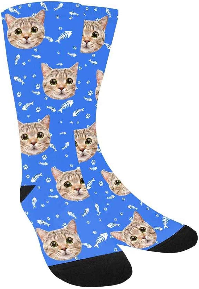 Custom Face Socks,Turn Your Photo Into Cat Face Fish Bone Paw Bl