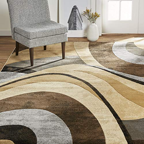 Home Dynamix Tribeca Slade Modern Area Rug ,Abstract Brown/Gray 5'2'x7'2'