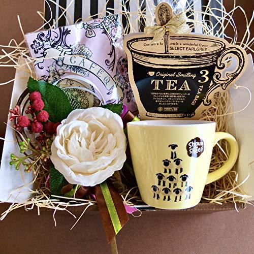 フラワーローズギフト(ショーンマグ&チョコレート&紅茶)/セット、詰め合わせ (イエローマグ)/ピンクエンジェルラッピング