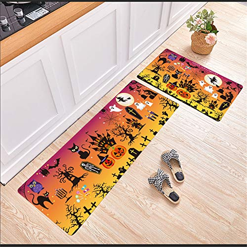 Halloween Nordic Modern Non-Slip Water-Absorbing Oil-Absorbing Mats Simple Geometric Rectangular Printing Mats Kitchen Mats Hotel Restaurant Carpets