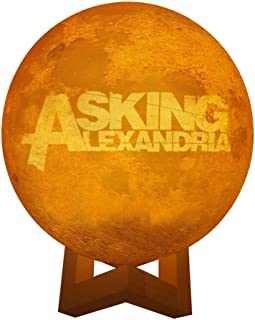 Asking Alexandria Band Logo Personalized Photo Night Light Customized 3D Printing USB Charging Moon Lamp Moon Light Night Light for Kids Gift for Women Mother's Day Gift 4.7inch/12cm