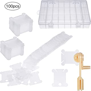 100 Pieces Plastic Floss Bobbins with Floss Winder and Embroidery Organizer Box for Cross Stitch Craft DIY Sewing Storage