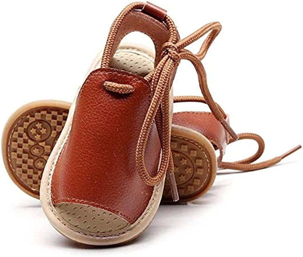 Bebila Summer Baby Sandals Open toe Lace Up Toddler Shoes for First Walker Girls Boys Brown