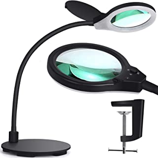 Touch Dimmable Magnifying Glass Desk Lamp - 2 in 1 Daylight Lighted 5-Diopter Magnifier with Stand & Clamp - Adjustable Gooseneck LED Light for Reading, Crafts, Sewing, Painting, Close Work(Black)