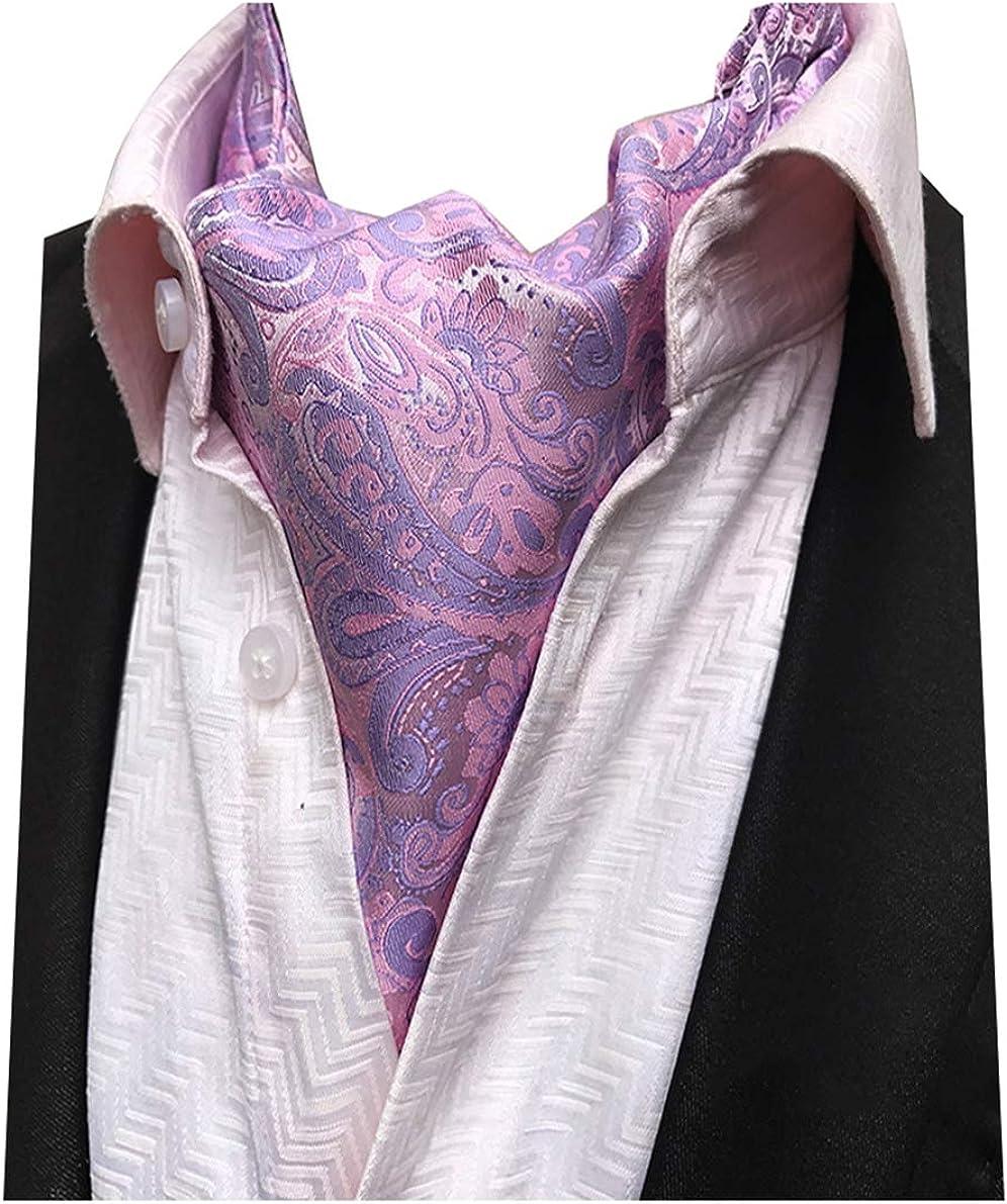 L04BABY Men's Pink Paisley Floral Ascot Tie Woven Silk Scarf Wedding Cravat Tie