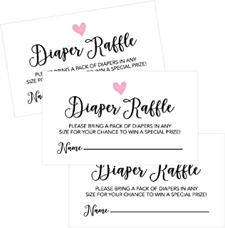 25 Diaper Raffle Ticket Lottery Insert Cards for Pink Girl Heart Baby Shower Invitations, Supplies and Games for Baby Gender Reveal Party, Bring a Pack of Diapers to Win Favors, Gifts and Prizes