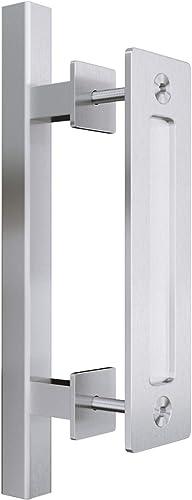 """popular SMARTSTANDARD online sale 12"""" Pull new arrival and Flush Square Door Handle Set Stainless Steel Door Pull Handle Sliding Barn Door Hardware Handle online"""