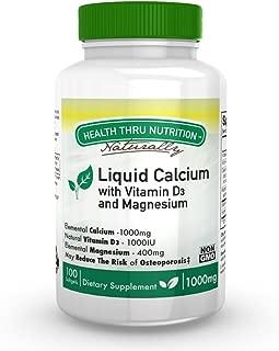 Liquid Calcium and Magnesium with 1000 IU D3, Vitamin K, Non-GMO, Soy-Free (100 Softgels)