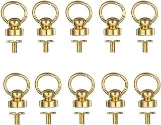 Button Studs Rivets O-Ring Head Button Stud Screwback with Screw for DIY Art Leather Craft Belt Purse Handbag (25Pcs/Gold)