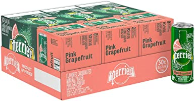 Perrier Pink Grapefruit Flavored Carbonated Mineral Water,  8.45 fl oz. Slim Cans (30 Count)