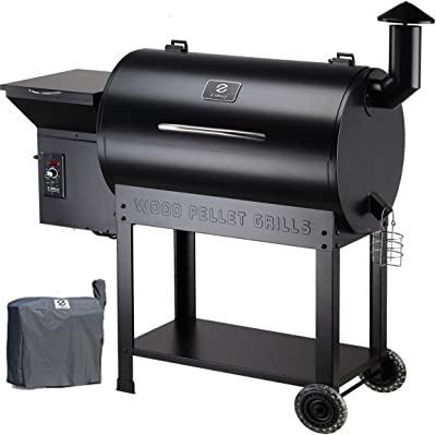 Z GRILLS Wood Pellet Grills & Smoker with Newest Updated Digital Controls 700sq in 8-1 BBQ Grill for Outdoor Backyard-Bundle(Patio Cover)