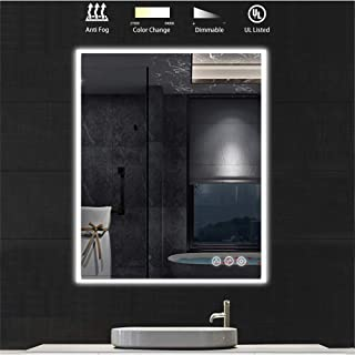 LED Lighted Makeup Mirror for Bathroom Vanity with Lights That are Dimmable, Color Temperature Adjustable. Vertical or Horizontal Wall Mounted Smart Mirror for Wall. (30 Inch x 36 Inch)