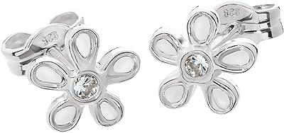 NKlaus Coppia di orecchini in argento Sterling 925 con pietre preziose, fiore in oro giallo 333, 8 carati o argento Sterling 925, per donne e bambini, con zirconi