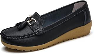 Women Loafers Leather Rubber Sole Slip On Walking Flats Casual Moccasin Boat Shoes