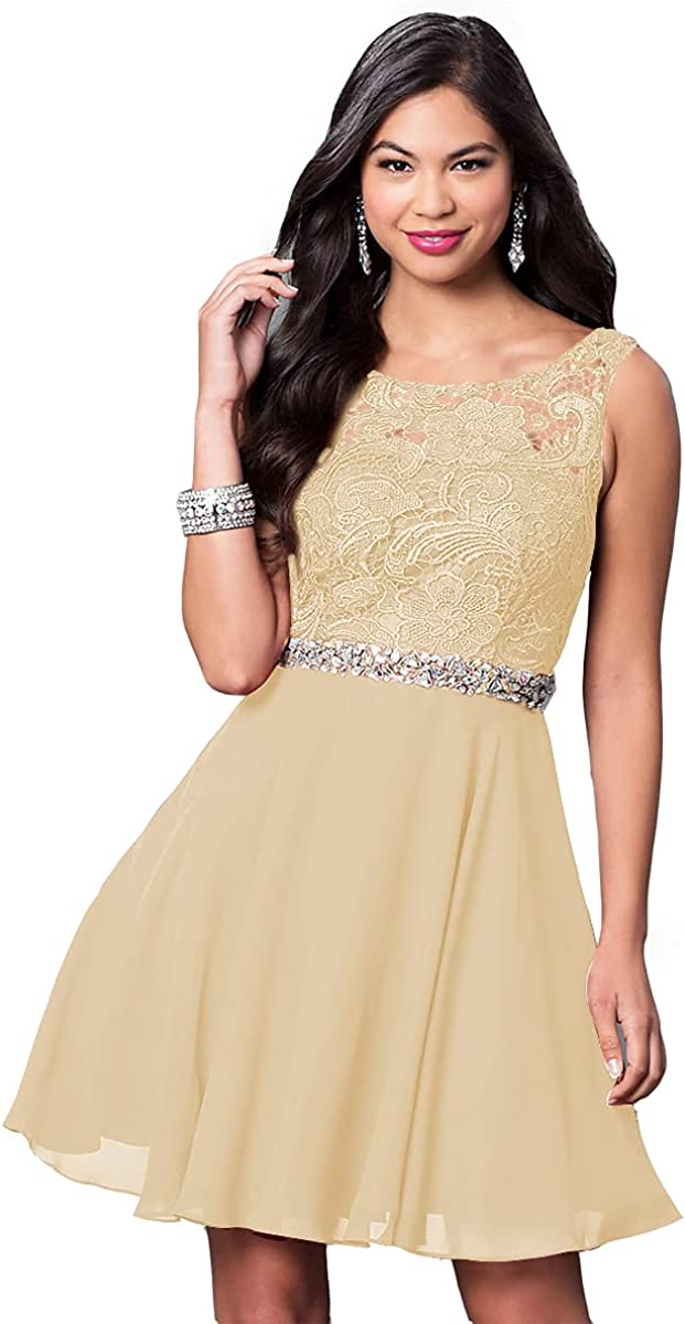 Lover Kiss Women's Short Homecoming Dress for Teens Lace Beaded Formal Evening Gowns with Pockets