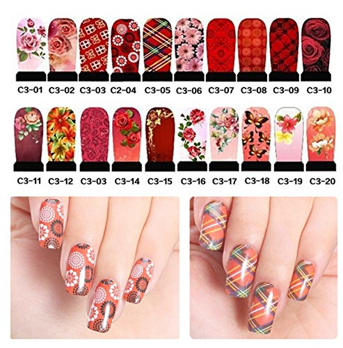 WellieSTR 20 stlye (240 sheet) Fashion Flower Designs Hot Water Transfer Nail Stickers Full Cover Flowers Bow Foils Polish DIY Nail Beauty Decals Decoration