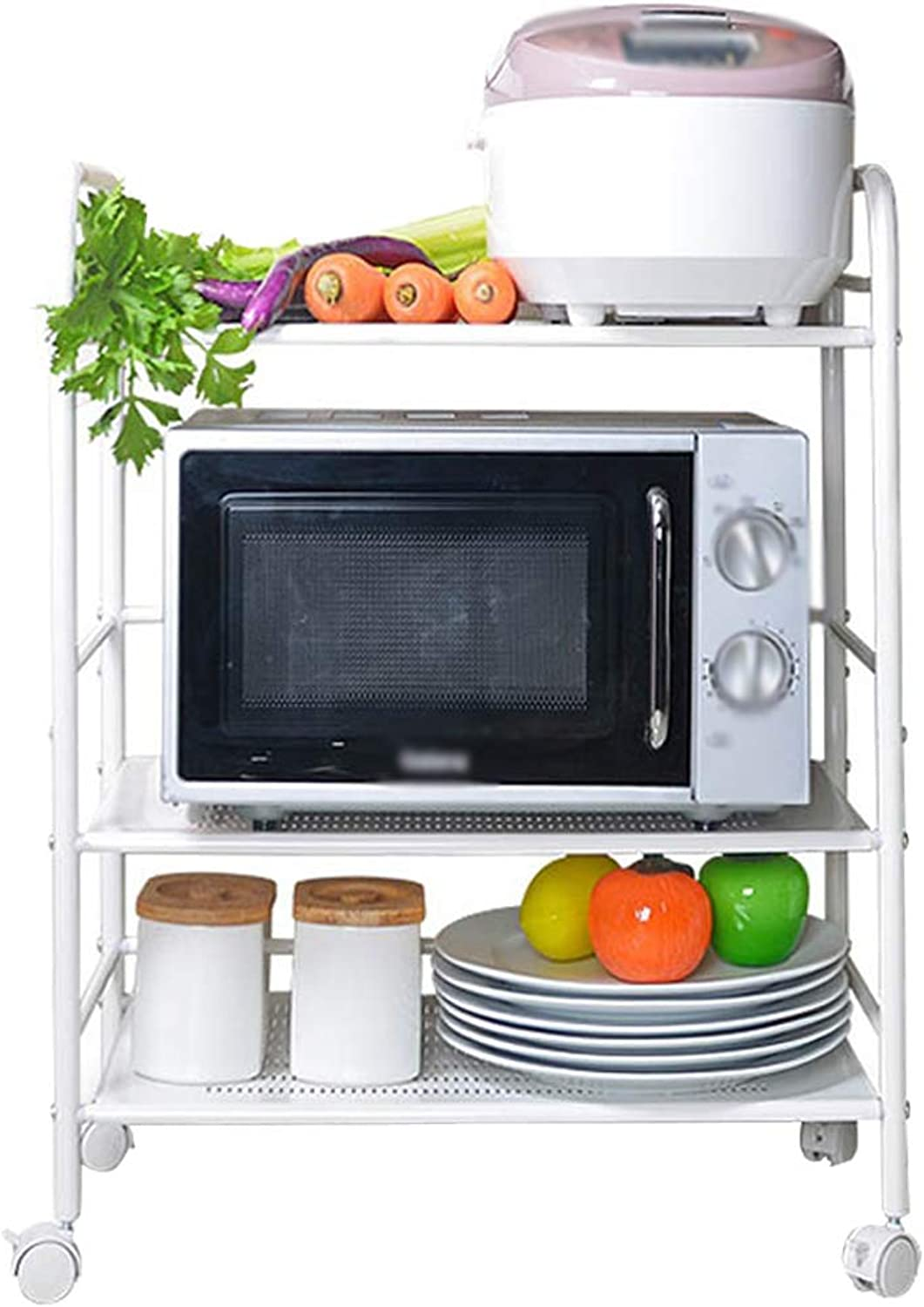 HUYP Iron Rack Microwave Oven Rack Kitchen Storage Rack Storage 3 Layer Oven Rack Removable