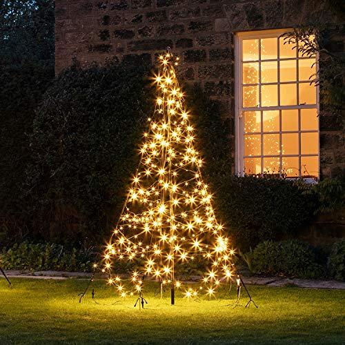 Lights4fun Albero di Natale Fairybell di 2 metri con 300 LED Bianchi Caldi per Esterni