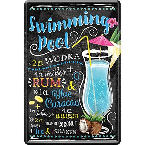 """schilderkreis24 – Blechschild Cocktail Rezept """"Swimming Pool"""" Deko Bar Küche Kneipe Pub Theke Geschenk Geschenkidee Geburtstag Weihnachten Alkohol Longdrink Tonic Spirituosen Trinker 20x30 cm"""