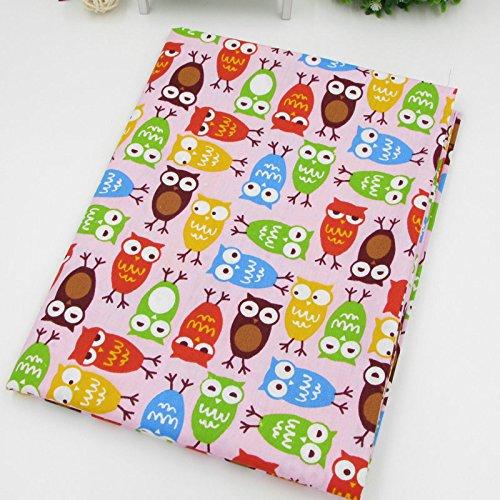 Una pieza 50 cm x 150 cm lindo búho colorido impreso 100% algodón tela para ropa de cama de bebé textil patchwork colcha tela de costura material
