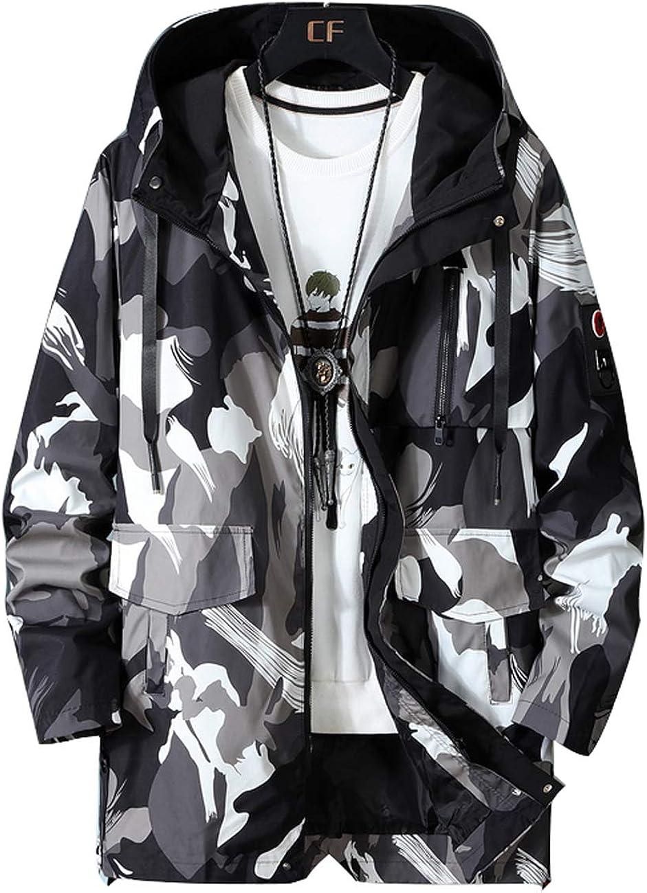 Zoulee Men's Waterproof Long Jacket Outdoor Hooded Trench Coat Raincoats