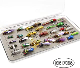 YZD Trout Fly Fishing Flies Collection Dry Wet Nymph Fly Assortment with Fly Box Flyfishing Flys Lures 12/16/18/22/36 Kits